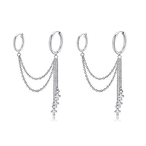 Fusamk Fashion Stainless Steel Chain Dangle Earrings Tube Hoop Earrings