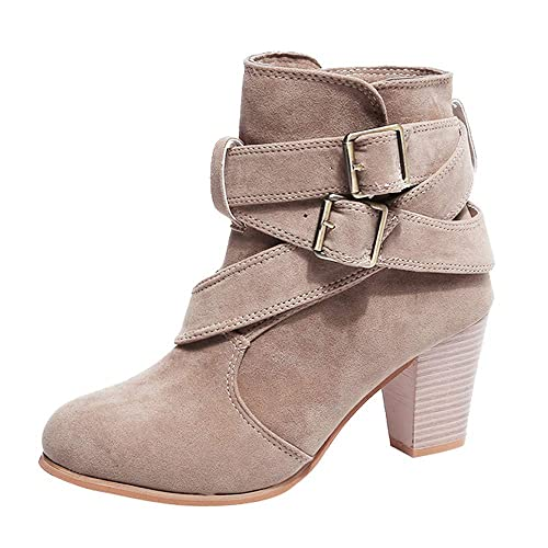FORUU Women Boots Rivets Shoes Martain Boots Suede Ankle Boots High Heeled Zipper Boot