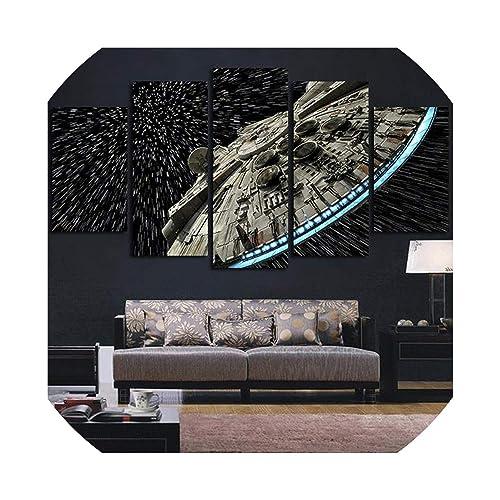 5 Panel Framed Star Wars Millennium Falcon Modern Decor Canvas Wall Art HD Print